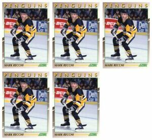 (5) 1991-92 Score Young Superstars Hockey #22 Mark Recchi Card Lot Penguins
