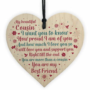 Cousin Birthday Christmas Card Birthday Gift Wooden Heart Thank You