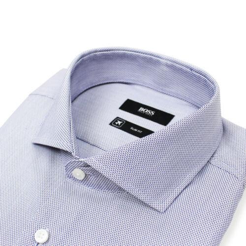 * NUOVO CON ETICHETTE RRP £ 119 15.5//39 BOSS Black-Jason SLIM FIT Stitch Camicia Blu