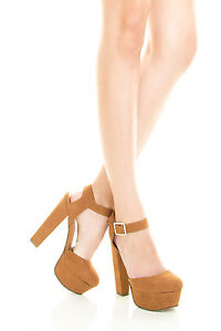 Women Tan Closed Toe Ankle Strap Mary Jane Chunky Heel Platform ...