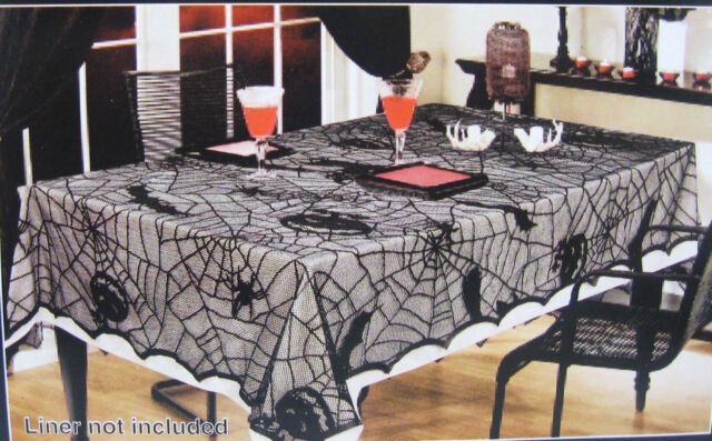 """52"""" x 70"""" Halloween Spider Web Black Lace Fabric Tablecloth -NEW- FREE SHIPPING"""