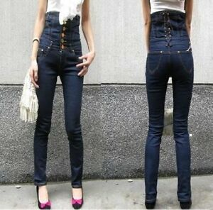 Ultra-High-Waisted-Corset-Waist-Lace-Up-Back-Blue-Denim-Skinny-Skinny-Leg-Jeans