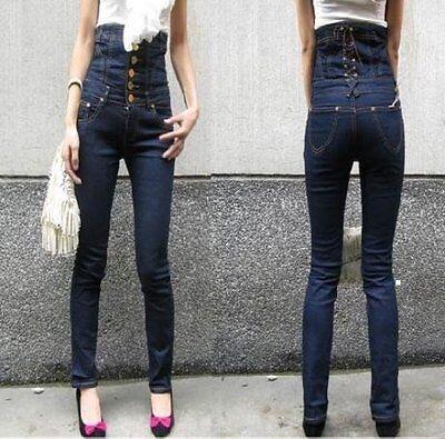 Ultra High Waisted Corset Waist Lace Up Back Blue Denim Skinny Stretchy Jeans