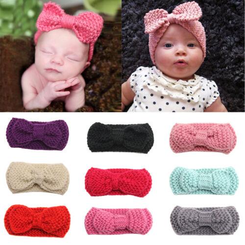 2xCrochet Hair Bow Hairband Baby Girls Newborn Headbands Hair Accessories