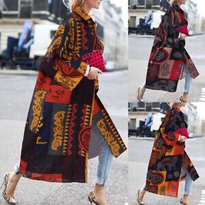 ZANZEA-Femme-Manteau-Cardigans-Manche-Longue-100-coton-Imprime-Grande-Taille