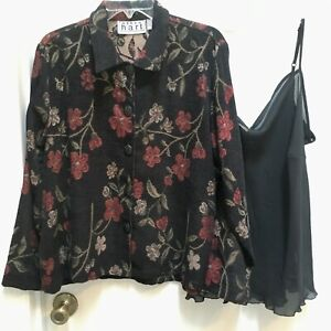 Keren-Hart-Tapestry-Jacket-size-XL-and-Notations-sheer-black-Camisole