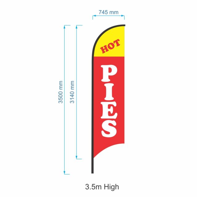 3.5m Hot Pies Flag Kit /  Outdoor Advertising Sign Banner Flag Set-Ready to Ship