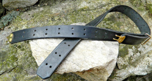 """Made USA Sportsman Sling Harness Leather Belt 1 1//4/"""" Inch wide Dbl Brass Prong"""