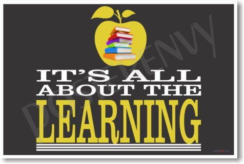 Horizontal Its All About The Learning NEW Classroom Motivational Poster