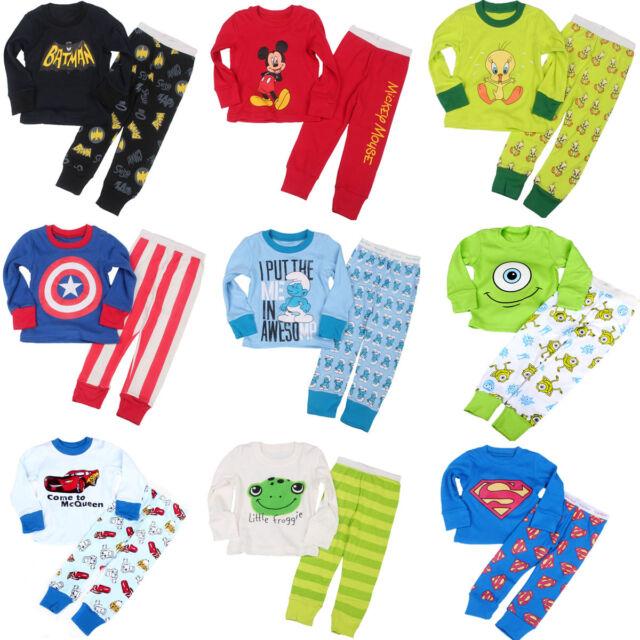 For Baby Boys Cotton Sleepwear Kid's Pajamas T-shirt+Long Pants Set Cartoon B