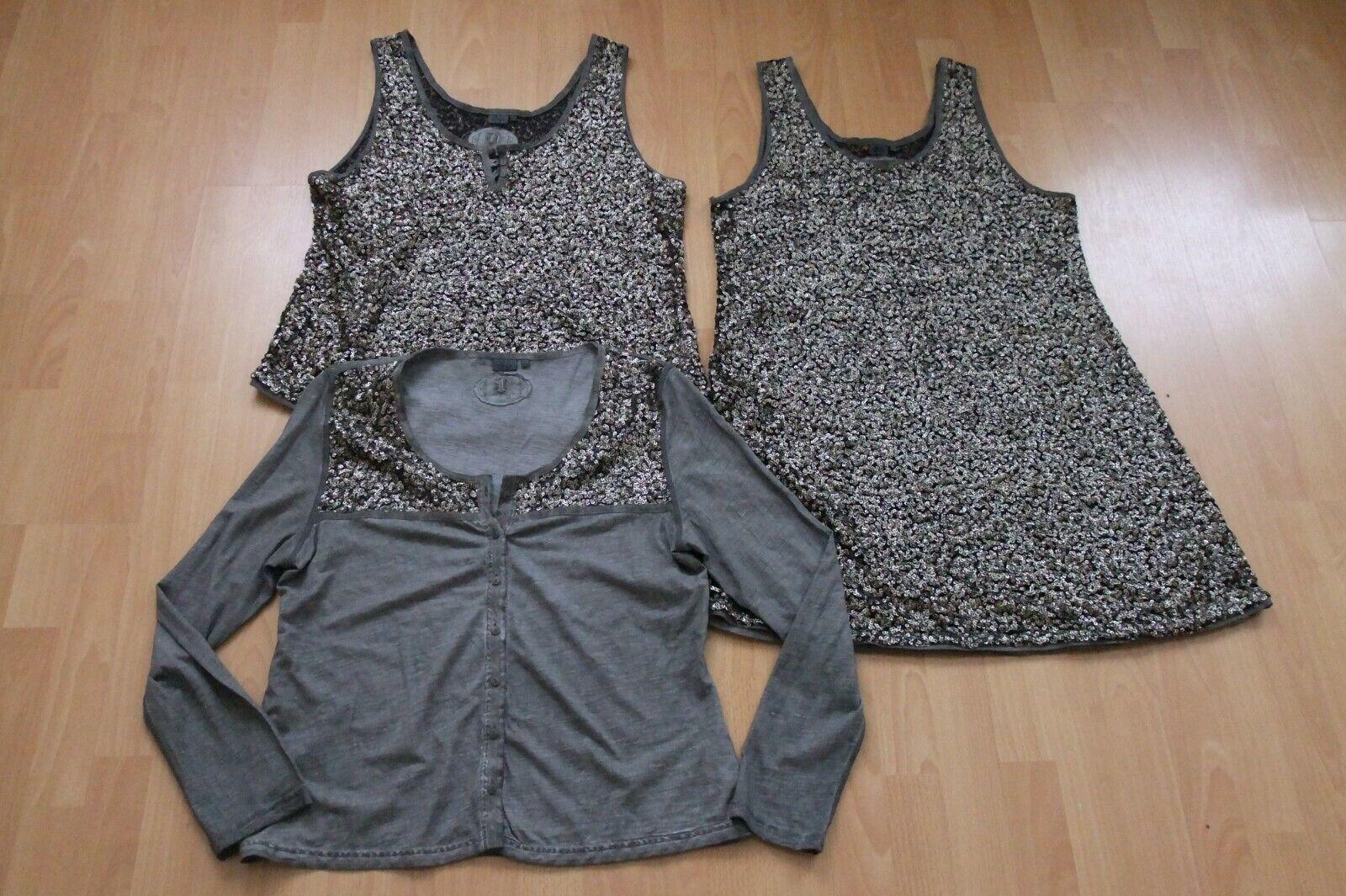 Nile Damenkostüm (Kleid, Oberteil, Cardigan) mit Pailletten, 3 Teile, Gr.XL, neu