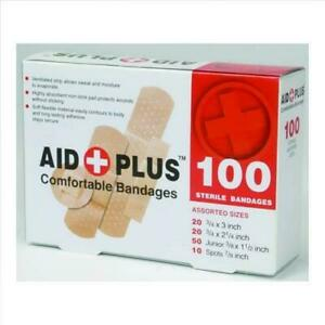 100 Sterile Assorted Size Bandages Band-Aids Survival 1st First Aid Kit Strip