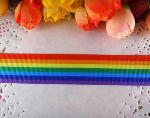 """1m cinta de grogrén con Orgullo Arco Iris 7//8/"""" 22mm Cinta De Cabello Moño Tablero De Torta De Ropa"""