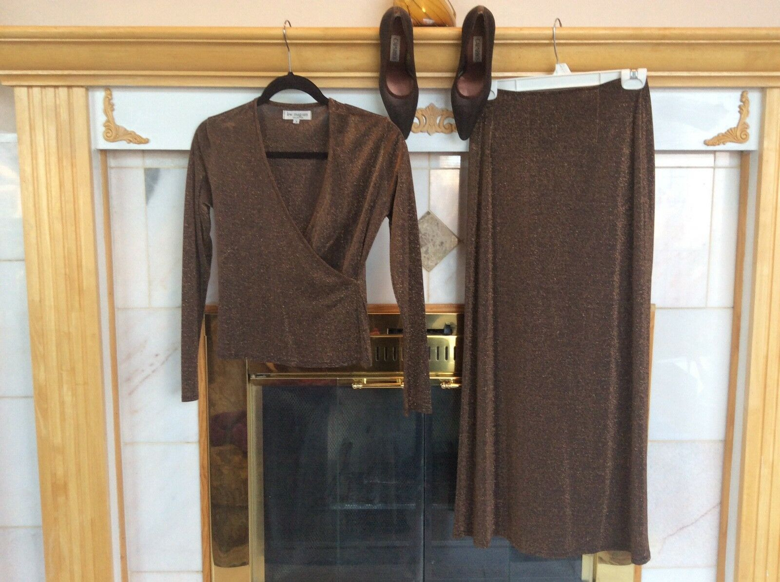 Lew Magram skirt set with Caparros bronze metallic shoes slightly used