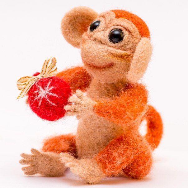 Toys Monkey Needle Felted orange orange Monkey Natural Merino Wool Sculpture Decor