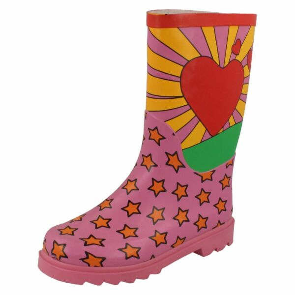 *svendita* Ragazze Spot On Multicolore Cuore Sun Star Rosa Stivali Di Gomma