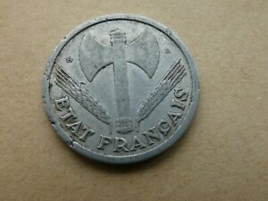 Vichy Government WWII France 1944-2 Francs Aluminum Coin