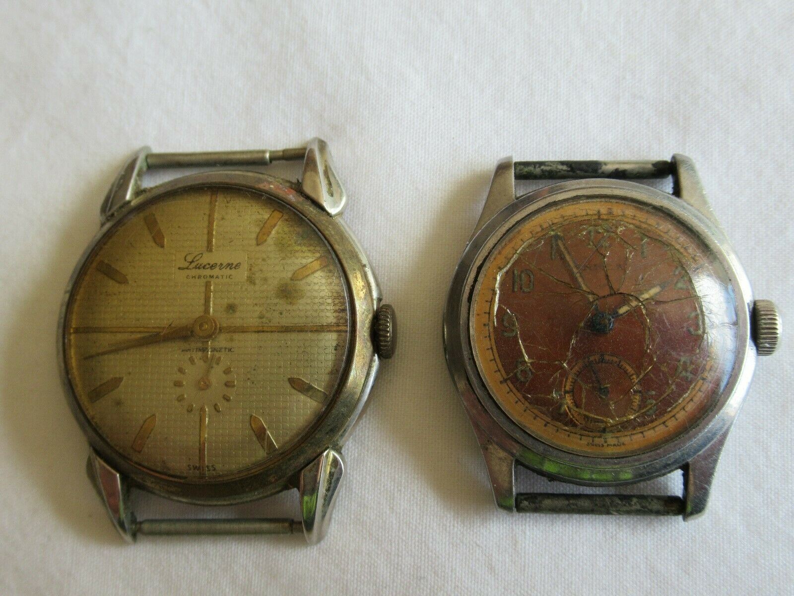 Vintage Watches Incabloc and Lucerne Swiss Made Broken Damaged Parts Only