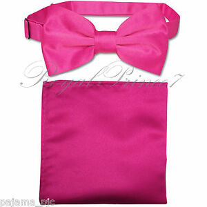 729712cc13d27 Details about New Hot Pink Men's pre tied Bow tie & Pocket Square Hankie  set wedding Prom