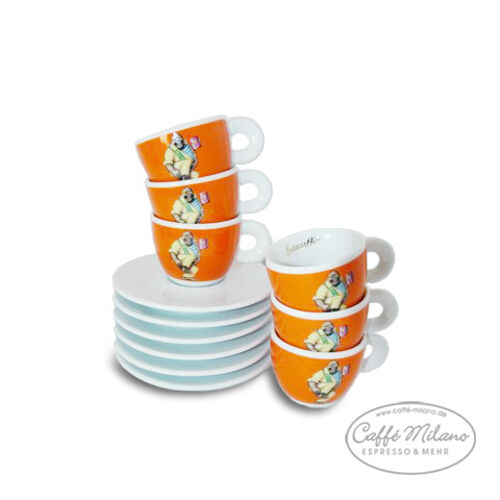 Lucaffe Espresso Tazze Arancione, 6 pezzi-Caffe Milano