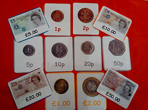 BRITISH MONEY - 12 FLASH CARDS - COINS & NOTES - ROLEPLAY/MATHE<wbr/>MATICS/VALUES/<wbr/>KS1