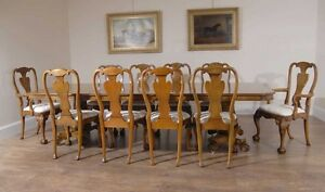 walnut dining table 10 queen anne chairs dining set furniture ebay