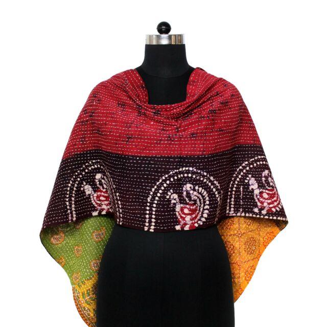 Vintage Kantha Scarf Cotton Sari Stole Women Shawl Hand Stitch Embroidered