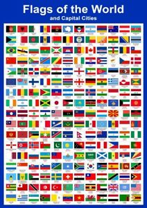 A3 Flags of the World & Capital Cities - Educational Wall Chart Poster Classroom 670924571179