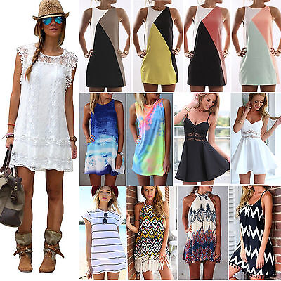 Womens Summer Sexy Sleeveless Short MINI Dresses Beach Bikini Cover Up Sundress