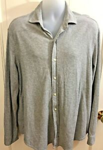 RALPH-LAUREN-POLO-Mens-Gray-Jacquard-or-Waffle-Knit-Button-Down-Shirt-XL-EUC