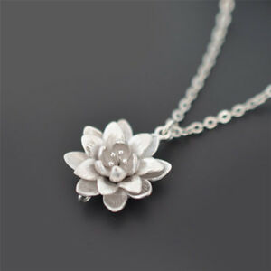 Women silver plated lotus flower necklaces pendants elegant necklace image is loading women silver plated lotus flower necklaces pendants elegant mightylinksfo