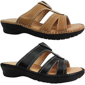 Womens Ladies Low Heel Wedge Comfort Wide Casual Sandals Slip On Mules Size New