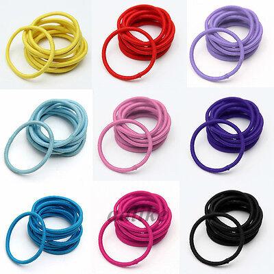 10Pcs Women Girl Elastic Colorful Thin Hair Ropes Ties Ponytail Holder Headband