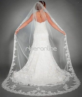 New White Ivory Cathedral Length Lace Edge Bride Wedding Bridal Veil Long Train