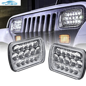 """2x Cree LED Projector Headlights 7x6/"""" Sealed Beam Headlight Chrome DOT Approved"""