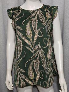 Ann-Taylor-Loft-Womens-Size-Small-Olive-Green-Tan-Paisley-Cap-Sleeve-Shirt-Top