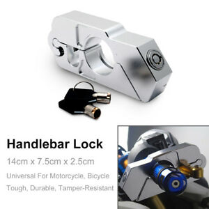Silver-Motorcycle-Handlebar-Grip-Brake-Lever-Lock-Anit-Theft-Security-Caps-Lock