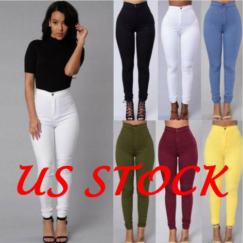 Women Sexy Solid High Waist Denim Skinny Stretch Jeans Penci