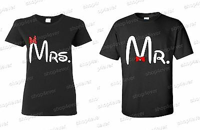 "Couple Matching T-SHIRT "" Mr & Mrs "" tees couple LOVE super cute CARTOON"