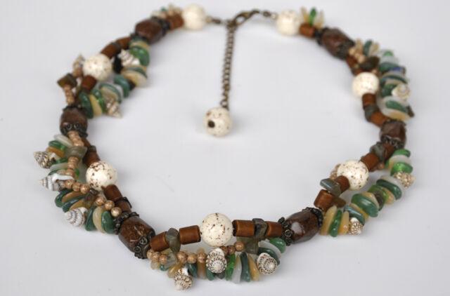 Natur Glas Perlen Muschel Stein Kette Sommer Strand Halskette 41-48 cm Naturton