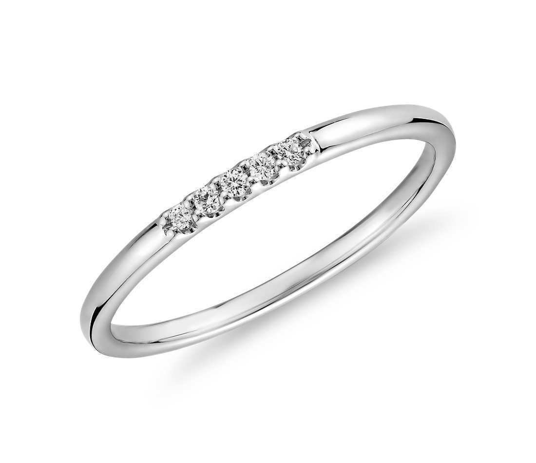 0.05Carat Round Diamond Ultra Mini Diamond Pave Stackable Ring 14K White Gold