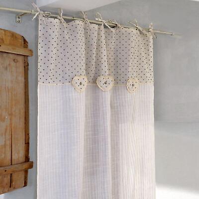 Tenda Righe Shabby Chic con Cuori Imbottiti 140x280 Colore Bianco Ecru Cuori Mar