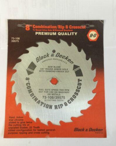 "Black /& Decker Premium 8/"" Wood Rip//Crosscut 22T Circular Saw Blades 2 Lot of"