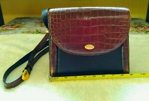 Fashion style Buy newest Bally Vintage Croc Embossed Brown
