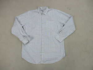 Peter-Millar-Button-Up-Shirt-Adult-Large-White-Brown-Long-Sleeve-Casual-Mens-A3