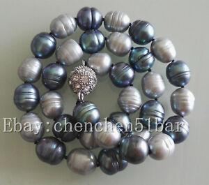 10-11mm-grau-schwarz-Reis-Barock-Suesswasser-Perlenkette-18-Zoll-Magnetverschluss