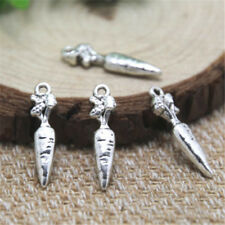 20//60pcs Tibetan Silver Rabbit with Carrot Charms Bracelet Pendants10x15mm