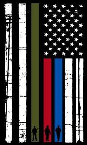 Horizontal Red Line Spartan Head Vintage USA Flag Various sizes WIndow Decal