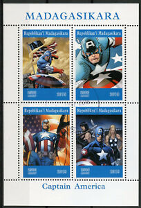Madagascar-2019-CTO-Captain-America-4v-M-S-Comics-Marvel-Superheroes-Stamps