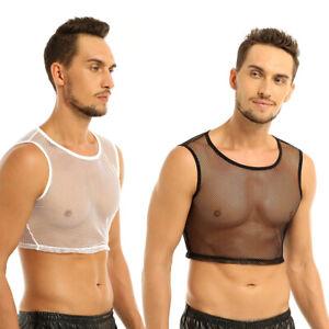 Herren Netz T-Shirt Tops Kurz Hemd mit Kragen Unterwäsche Transparent Clubwear